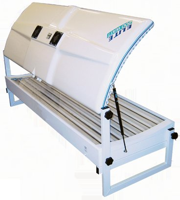 Elite double 18T double canopy sunbed back view